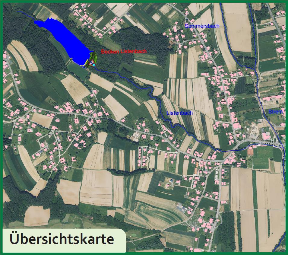 Die Übersichtskarte des Rückhaltebeckens Listenbach